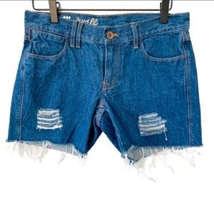 "MADEWELL 5"" Distressed Frayed Hem Denim Shorts 25"